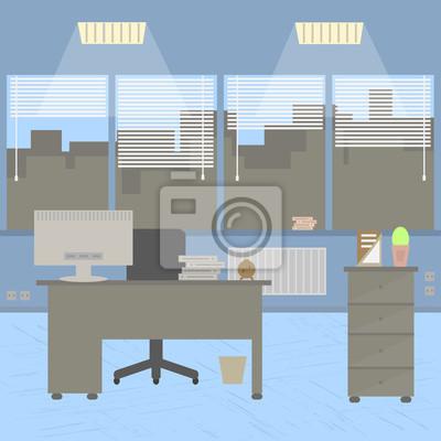 Modernes büro design  Modernes büro-interieur mit designer-desktop in flachen design ...