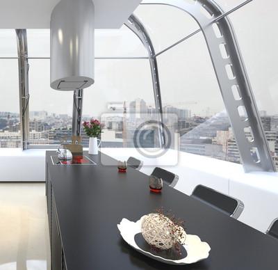 modernes interieur design farben, modernes design kitchen interior in weißer farbe fototapete, Design ideen