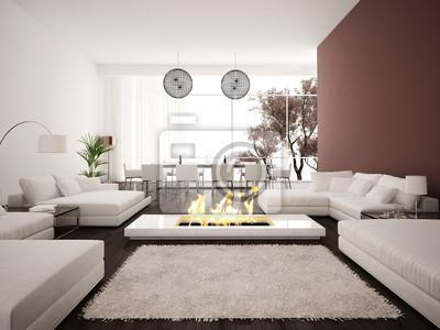 Modernes Design Wohnzimmer Innenraum Mit Kamin Fototapete
