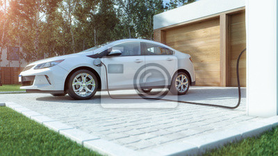 Fototapete Modernes Elektroauto zu Hause Strom tanken