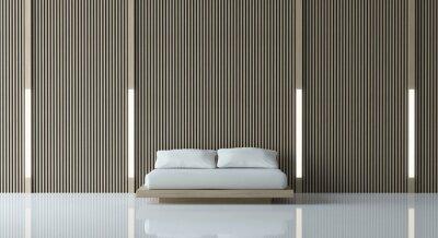 Fototapete Modernes Friedliches Schlafzimmer / Modernes Schlafzimmer  Minimalist Art Weißer Fußboden Verzieren Wand Mit Hölzernem Gitter