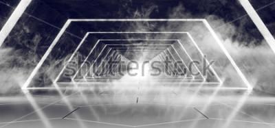 Fototapete Modernes futuristisches dunkles leeres Rauch- und Nebel-konkreter mit Ziegeln gedeckter ausländischer Tunnel-Korridor Sci Fi mit weißer Glühen-reflektierender elegantem Hintergrund der Wiedergabe-3D d