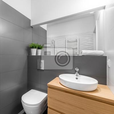Modernes graues badezimmer mit dusche fototapete • fototapeten ...
