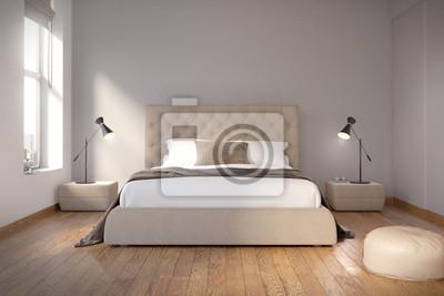 Holzfußboden Schlafzimmer ~ Perfekt gestaltete schlafzimmer mit weißen wänden holzfußboden