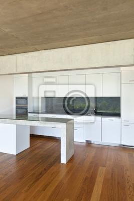 Modernes haus aus beton mit parkett, küche fototapete ...