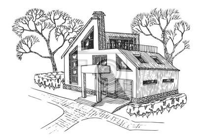 Superb Fototapete Modernes Haus Mit Garage, Dachboden Und Terrasse. Cottage Mit  Landschaftsbau.