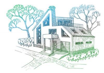 Fototapete Modernes Haus Mit Garage, Dachboden Und Terrasse. Cottage Mit  Landschaftsbau.