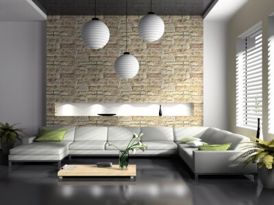 Modernes interieur salon 3d-rendering fototapete ...