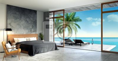 Modernes loft-interieur des schlafzimmers, sommer, liegestühle ...