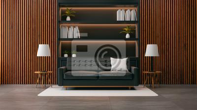 Fototapete Modernes Loft Wohnzimmer Interieur, Schwarzes Sofa Mit Schwarzem  Bücherregal Und Alte Holzwand / 3d