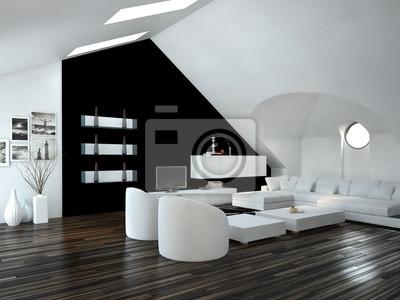 Fototapete: Modernes luxuriöses wohnzimmer mit weißen möbeln