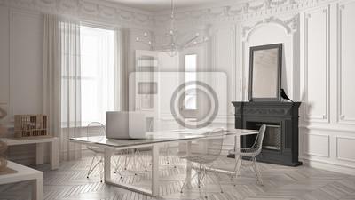 Modernes minimalistisches büro im klassischen vintage zimmer