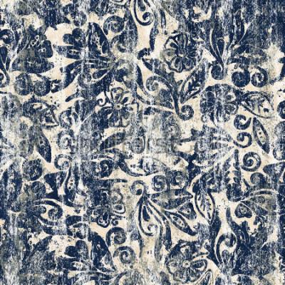 Fototapete Modernes Muster der Blumenaquarellbeschaffenheits-Wiederholung