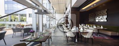 Fototapete Modernes Restaurant Interieur, Teil eines Hotels