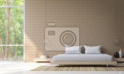 Fototapete Modernes Schlafzimmer Dekorieren Wand Mit Brick 3D  Rendering Bild. Minimalistischen Stil Weißen Boden