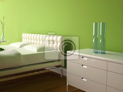 Fototapete: Modernes schlafzimmer grün