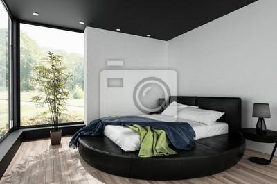 Modernes schlafzimmer in schwarzem design fototapete • fototapeten ...