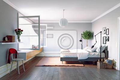 Modernes schlafzimmer interieur fototapete • fototapeten appartment ...