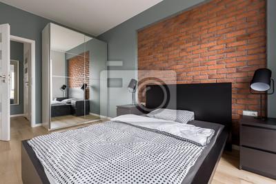 Modernes schlafzimmer mit backsteinmauer fototapete • fototapeten ...