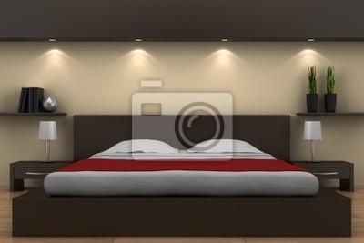 Fototapete Modernes Schlafzimmer Mit Bett Braun Und Beige Wand