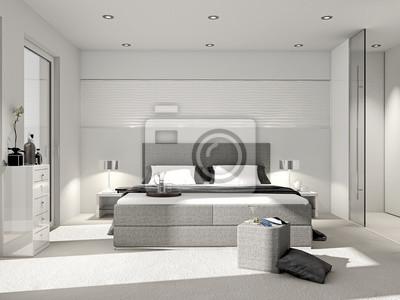 Modernes schlafzimmer mit boxspringbett fototapete • fototapeten ...