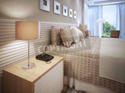 Fototapete Modernes Schlafzimmerdesign. Fertigbett Mit Kissen, Holz  Nachttisch Mit Telefon Und Tischlampe Mit Braunem