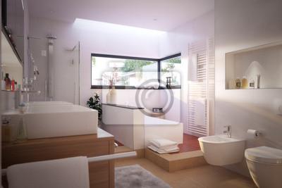Fototapete: Modernes, schönes badezimmer - modernes bad mit wellnessbereich