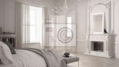 Fototapete Modernes Skandinavisches Schlafzimmer Im Klassischen  Vintage Wohnzimmer Mit Kamin, Luxuriöses, Weißes Interieurdesign