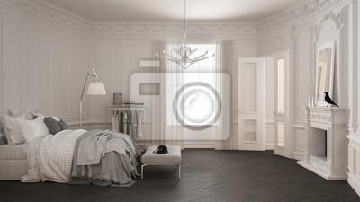 Fototapete Modernes Skandinavisches Schlafzimmer Im Klassischen  Vintage Wohnzimmer Mit Kamin, Luxuriöses, Weißes Und
