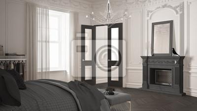 Modernes skandinavisches schlafzimmer im klassischen vintage ...