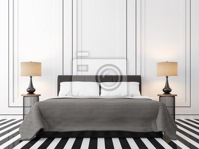 Fototapete: Modernes vintage-schlafzimmer mit schwarz-weißes  3d-rendering-bild.