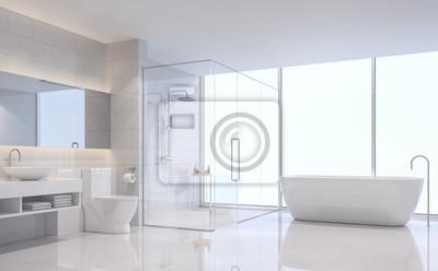 Modernes Weißes Bild Des Badezimmers D Wiedergabe Es Gibt Weiße - Weiße große fliesen
