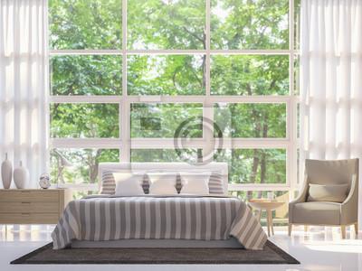 Modernes weißes schlafzimmer 3d rendering image.there sind große ...