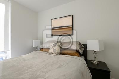 Modernes weißes schlafzimmer-innenarchitektur. fototapete ...