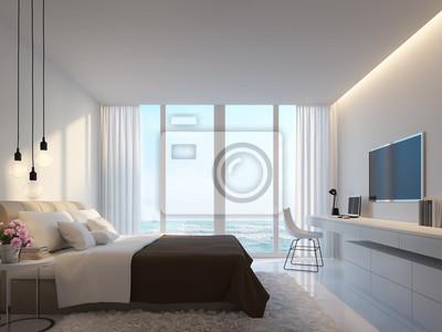 Fototapete Modernes Weißes Schlafzimmer Mit Meerblick 3D Rendering Bild,  Dekorieren Wand Mit Versteckten Warmen Licht