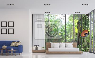 Modernes Weisses Schlafzimmer Und Wohnzimmer Mit Naturansicht
