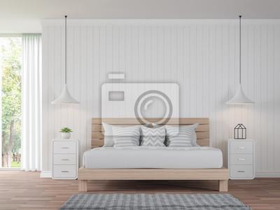Holzfußboden Weiß ~ Modernes weißes schlafzimmerweinlese art d rendering image there
