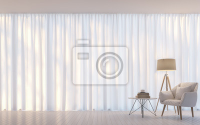 Modernes Weißes Wohnzimmer Minimal Style D Rendering Image There