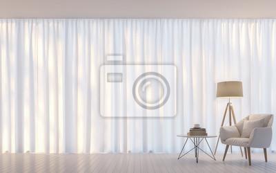 Fototapete Modernes Weißes Wohnzimmer Minimal Style 3D Rendering  Image.There Sind Dekorieren Raum Mit Weißen
