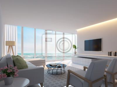 Fototapete: Modernes weißes wohnzimmer mit meerblick 3d-rendering-bild,  dekorieren