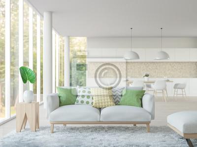 Fototapete Modernes Weißes Wohnzimmer Und Esszimmer 3D Rendering  Image.Focus Auf Sofa Es Gibt