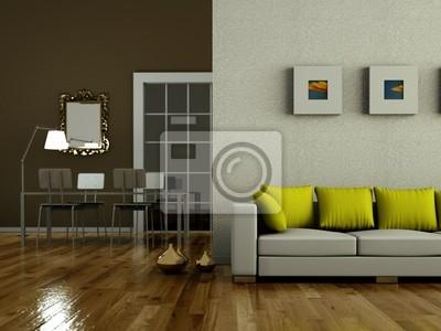 Fototapete Modernes Wohnzimmer Braun Grün