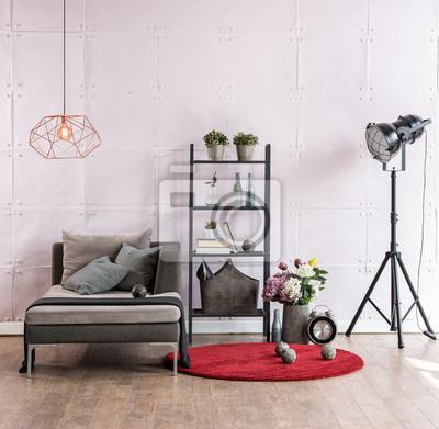 Fototapete Modernes Wohnzimmer Ecksofa Hinter Weicher Steinwand Und  Schwarzer Lampe