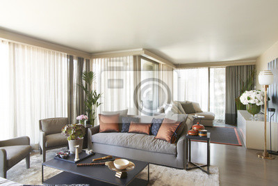 Modernes Wohnzimmer Innenkonzept Grau Details Mittelstand Kissen