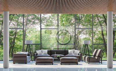 holz boden und decke modern interieur, modernes wohnzimmer interieur mit blick auf den garten 3d-rendering, Design ideen