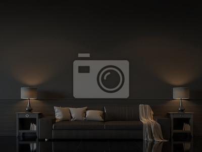 Fototapete Modernes Wohnzimmer Interieur Mit Leeren Schwarzen Wand  3D Rendering Image.There Sind Minimalistischen