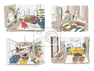 Fototapete Modernes Wohnzimmer Interieur Set. Möblierte  Zeichnungsraumkollektion. Bunte Vektor Illustration Skizze Auf Hellem