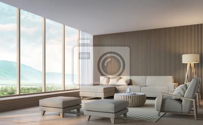Fototapete Modernes Wohnzimmer Mit Blick Auf Die Berge 3D Rendering  Image.Decorate Wand Mit