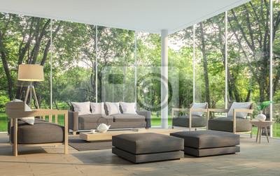 Fototapete Modernes Wohnzimmer Mit Gartenblick 3D Rendering Image.Es Gibt  Ein Großes Fenster Mit