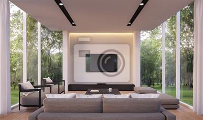 Fototapete Modernes Wohnzimmer Mit Gartenblick 3D Rendering Image.White  Wohnzimmer Mit Glaswand Holzboden Umgeben